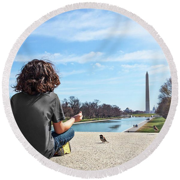 Serenity On The National Mall Round Beach Towel
