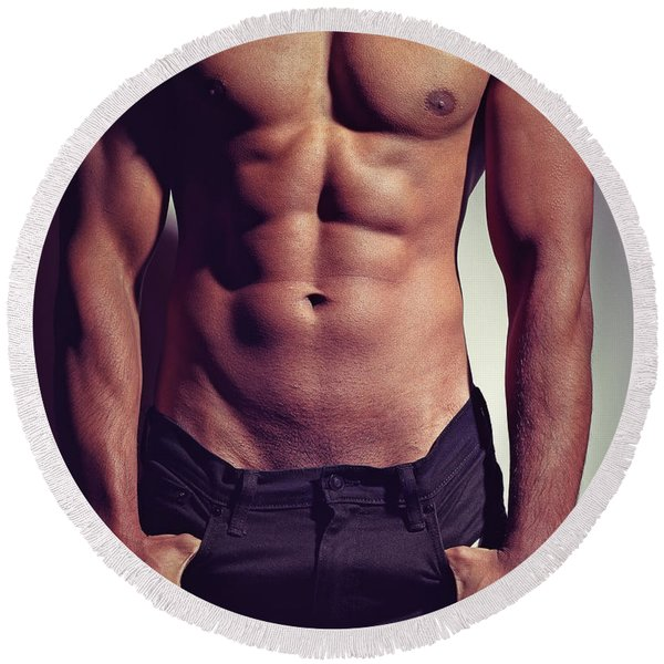Sexy Male Muscular Body Round Beach Towel