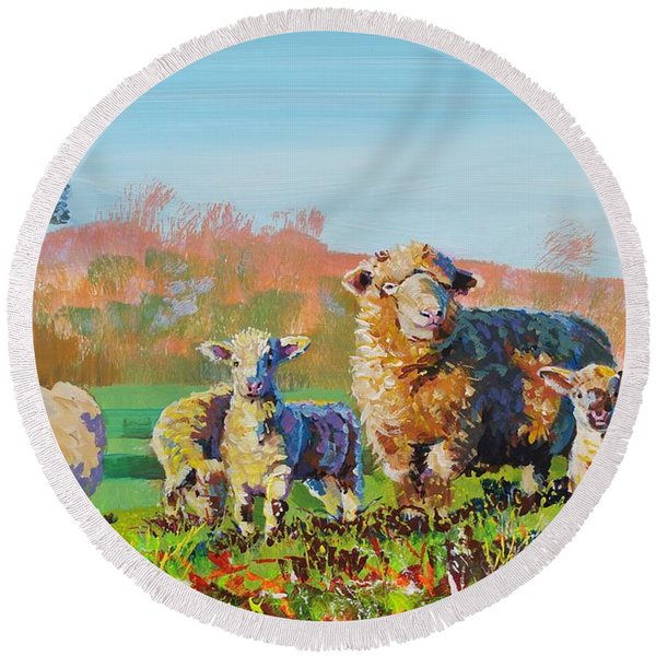 Sheep And Lambs In Devon Landscape Bright Colors Round Beach Towel