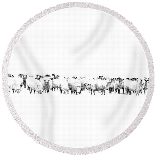 Sheeple  Round Beach Towel