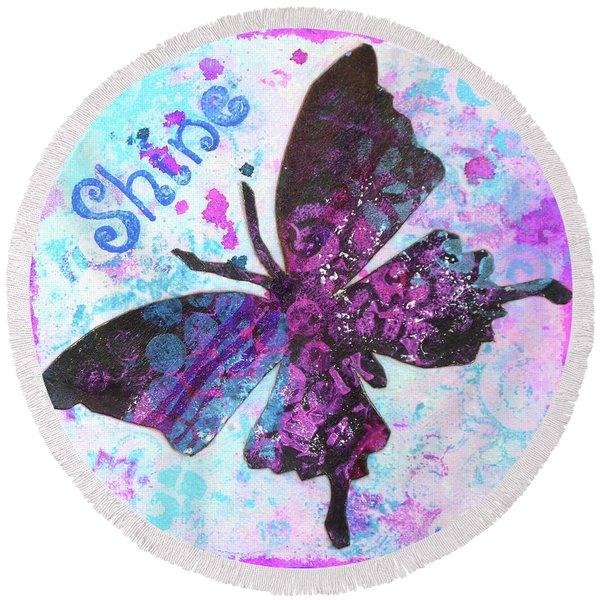 Shine Butterfly Round Beach Towel