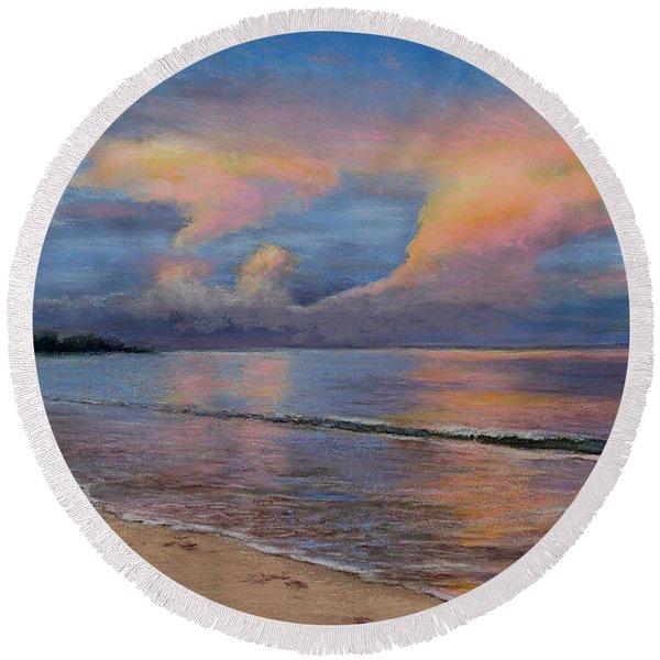 Shore Of Solitude Round Beach Towel