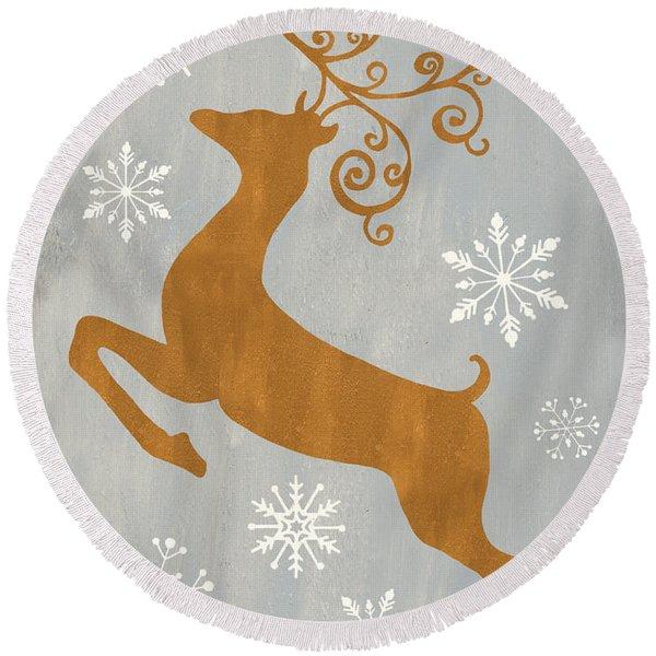 Silver Gold Reindeer Round Beach Towel