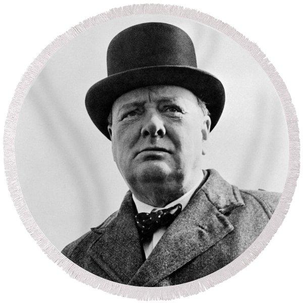 Sir Winston Churchill Round Beach Towel