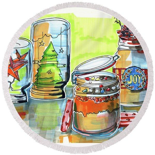 Sketch Of Winter Decorative Jars  Round Beach Towel
