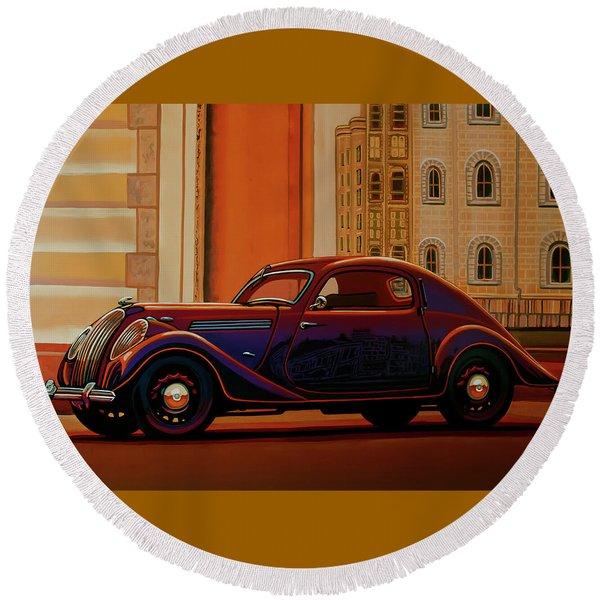 Skoda Popular Sport Monte Carlo 1935 Painting Round Beach Towel