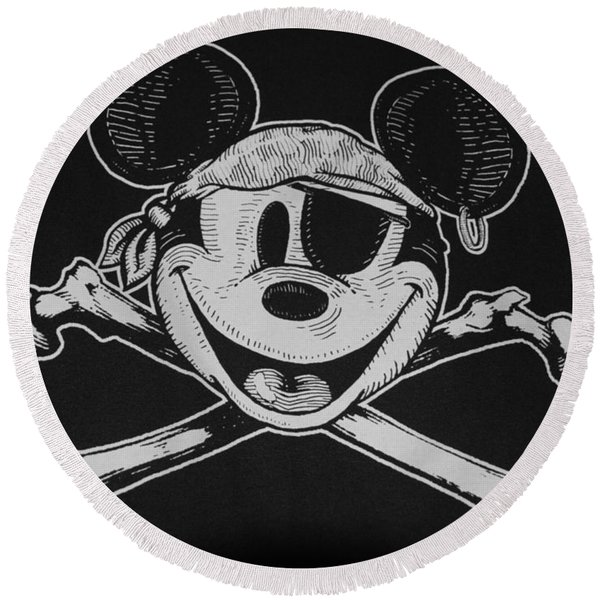 Skull And Bones Mickey  Round Beach Towel