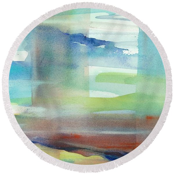 Round Beach Towel featuring the painting Sky Window 1 by Carolyn Utigard Thomas