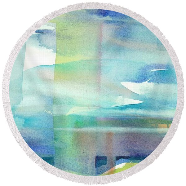 Round Beach Towel featuring the painting Sky Window 2 by Carolyn Utigard Thomas