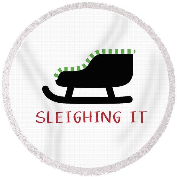 Sleighing It- Art By Linda Woods Round Beach Towel