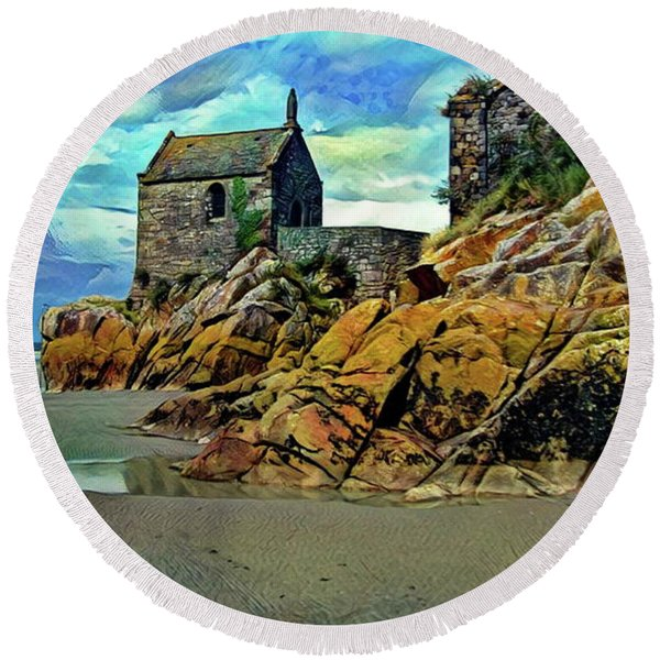 Small Chapel At The Mont Saint Michel Abbey Round Beach Towel