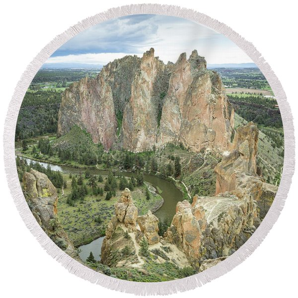 Round Beach Towel featuring the photograph Smith Rock From Misery Ridge by Tim Newton