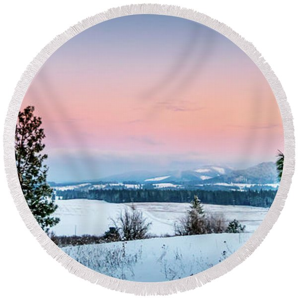 Snow Covered Valley Round Beach Towel