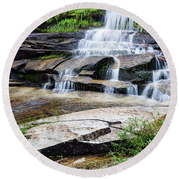Round Beach Towel featuring the photograph Snow Creek Cascade by Tim Newton