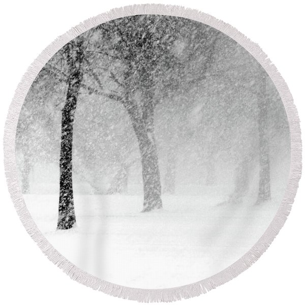 Snow Storm At Starved Rock Round Beach Towel