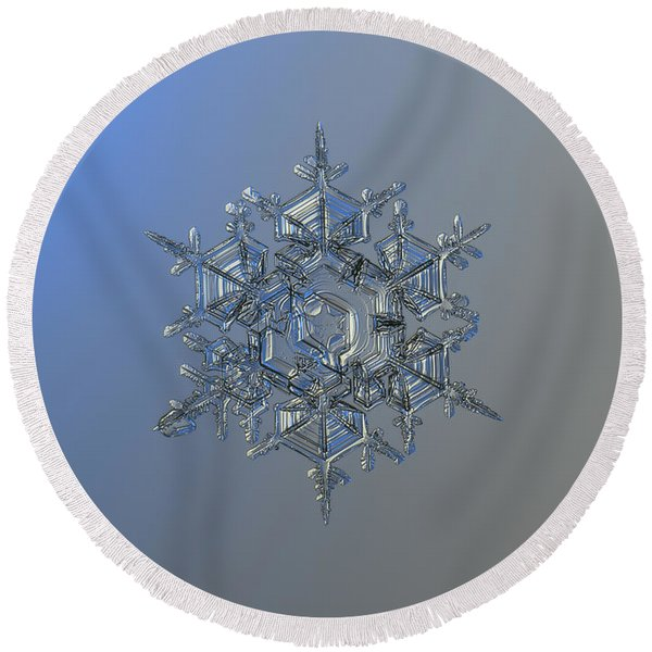 Snowflake Photo - Crystal Of Chaos And Order Round Beach Towel
