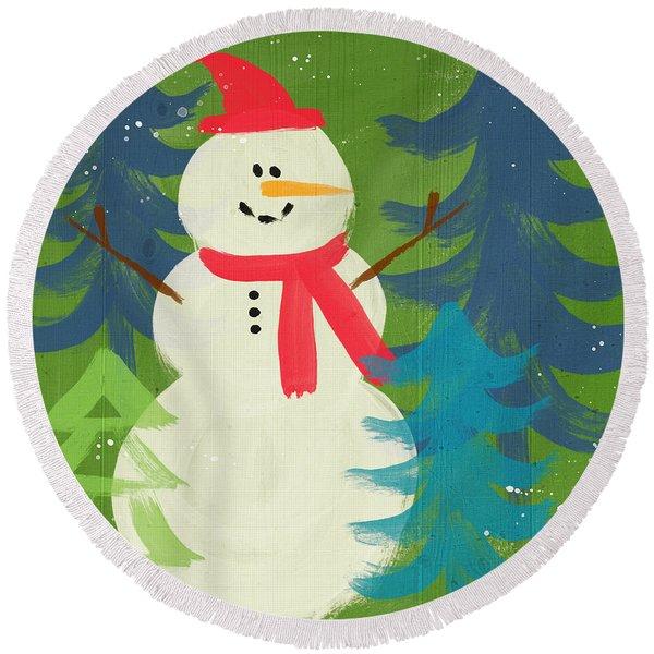 Snowman In Red Hat-art By Linda Woods Round Beach Towel