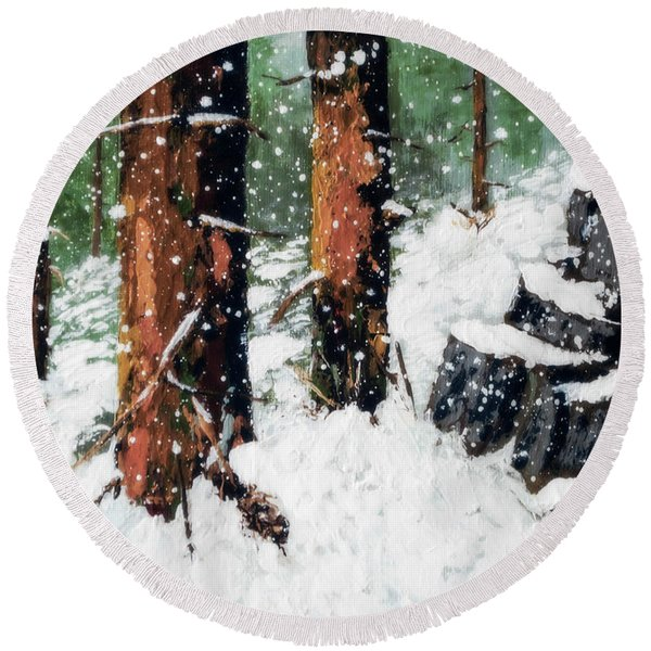 Snowy Redwood Dream Round Beach Towel