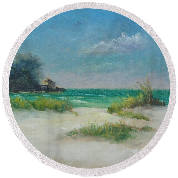South Lido Morning By Alan Zawacki  Round Beach Towel