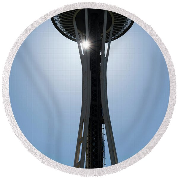 Round Beach Towel featuring the photograph Space Needle by Michael Hope