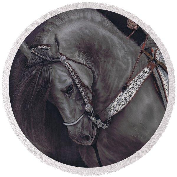 Spanish Horse Round Beach Towel