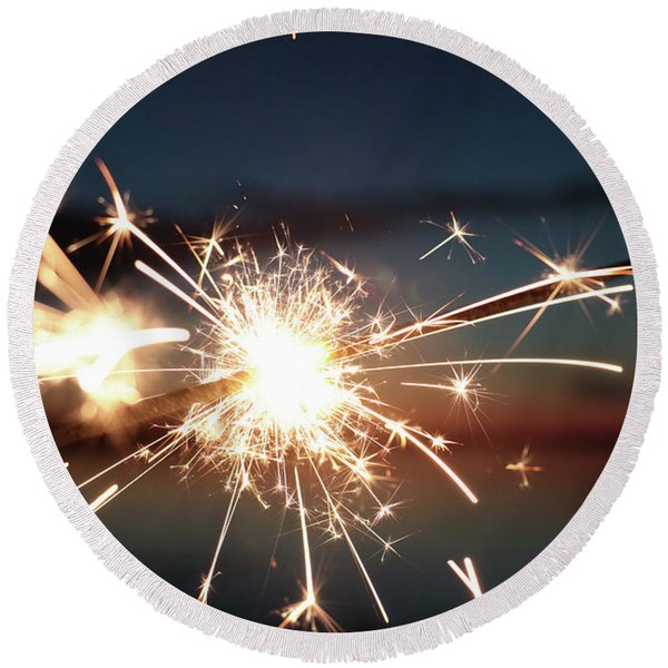 Sparklers After Sunset Round Beach Towel