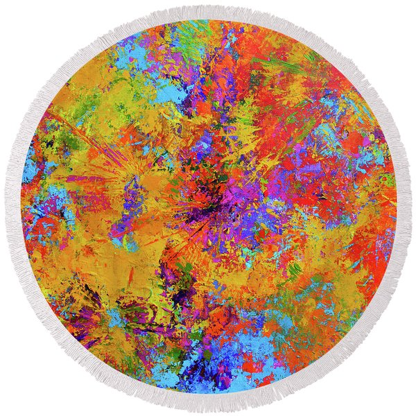Sparks Of Consciousness Modern Abstract Painting Round Beach Towel