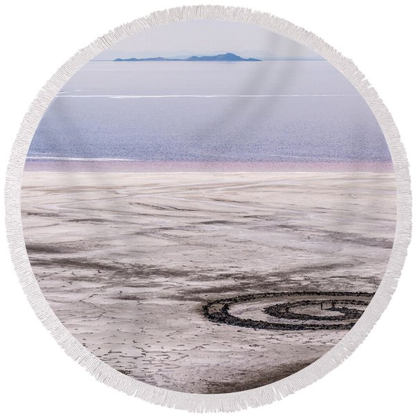 Spiral Jetty - Great Salt Lake - Utah Round Beach Towel