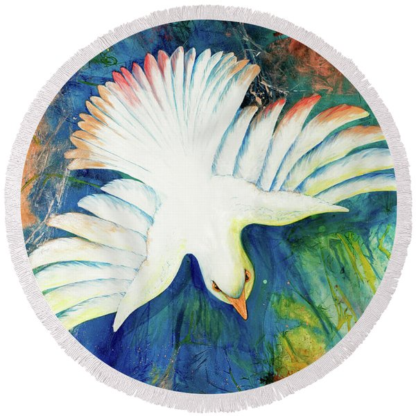 Round Beach Towel featuring the painting Spirit Fire by Nancy Cupp