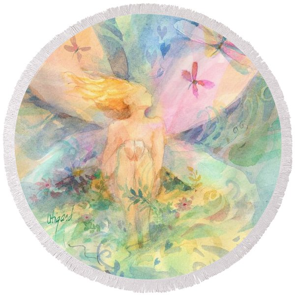 Round Beach Towel featuring the painting Spring Fairy by Carolyn Utigard Thomas
