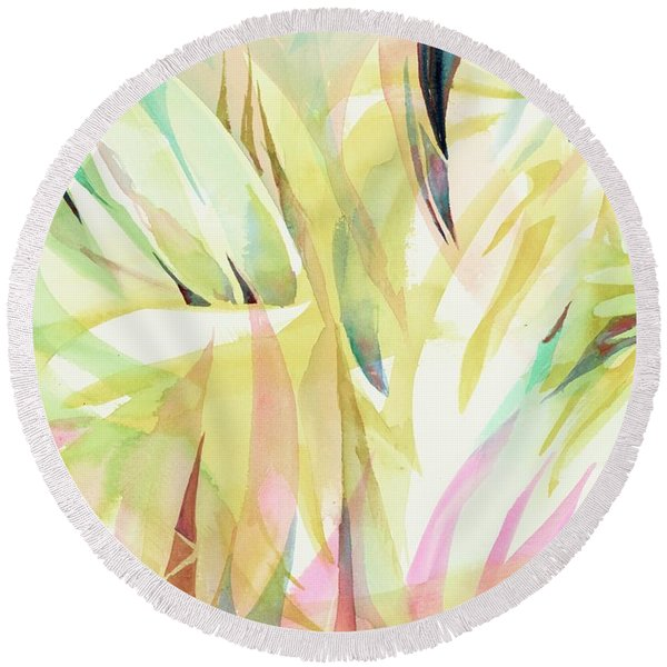 Round Beach Towel featuring the painting Spring Flora by Carolyn Utigard Thomas
