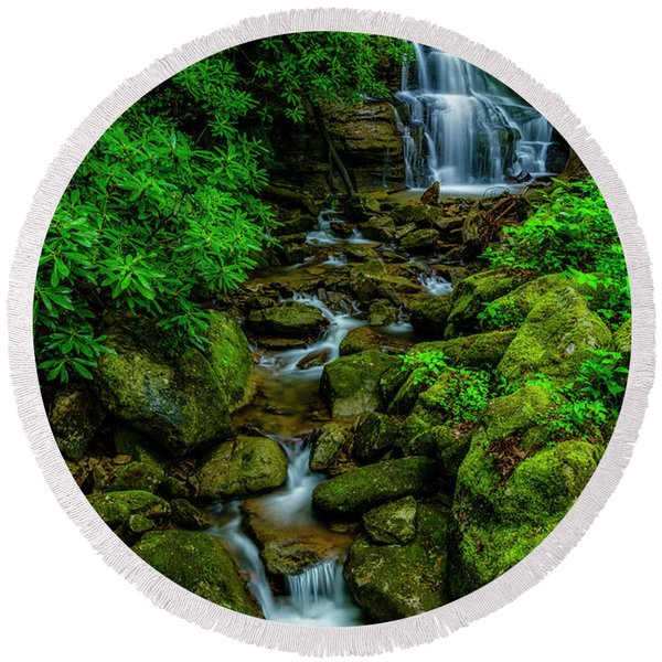 Spring Green Waterfall And Rhododendron Round Beach Towel