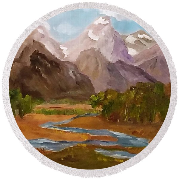 Spring In The Tetons Round Beach Towel