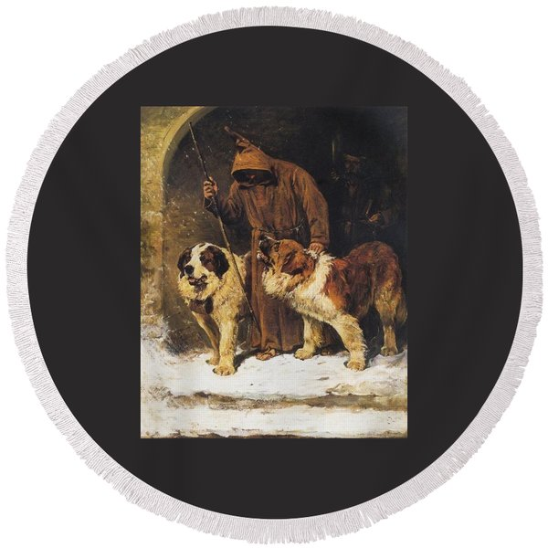 St. Bernards To The Rescue Round Beach Towel
