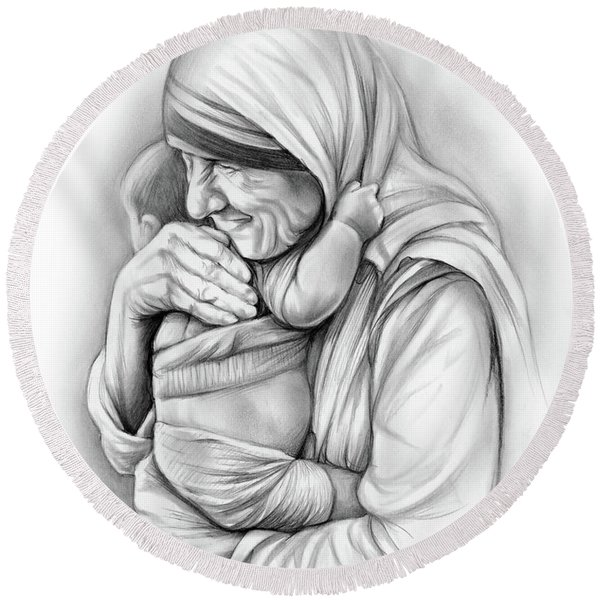St Mother Teresa Round Beach Towel