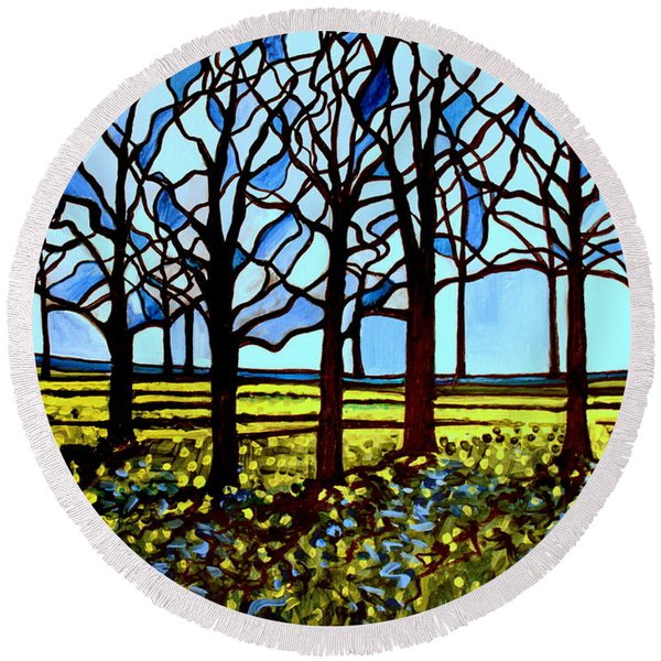 Stained Glass Trees Round Beach Towel
