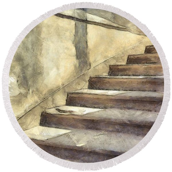 Staircase At Pitti Palace Florence Pencil Round Beach Towel