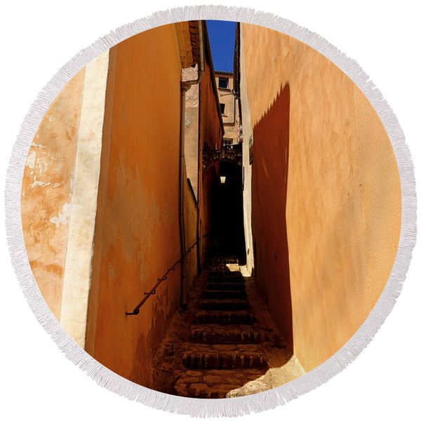 Stairs In Roussillon Round Beach Towel