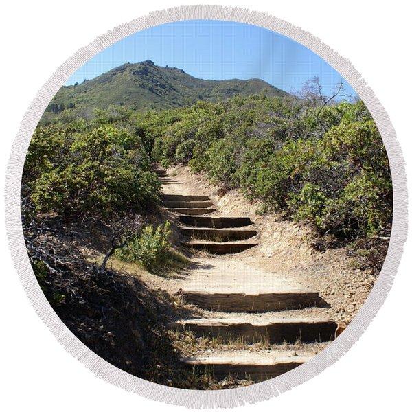Stairway To Heaven On Mt Tamalpais Round Beach Towel