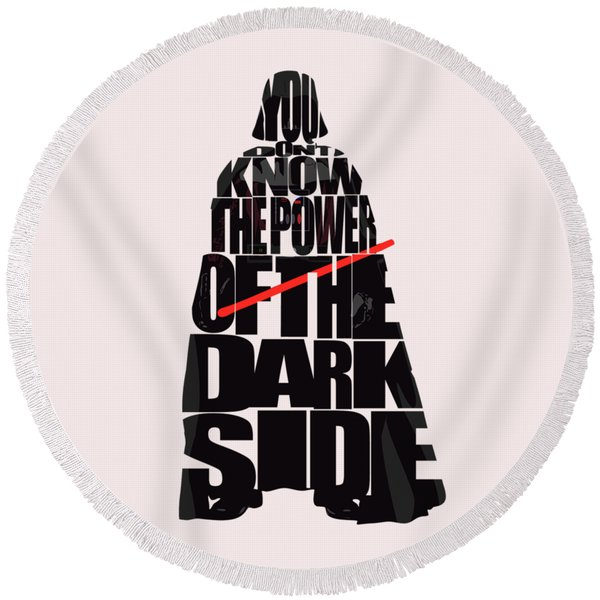 Star Wars Inspired Darth Vader Artwork Round Beach Towel