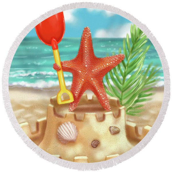 Starfish Makes A Sandcastle Round Beach Towel
