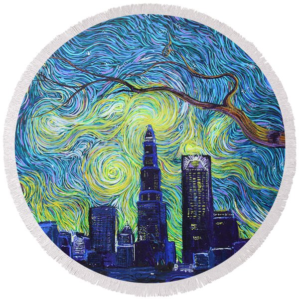 Starry Night Over The Queen City Round Beach Towel