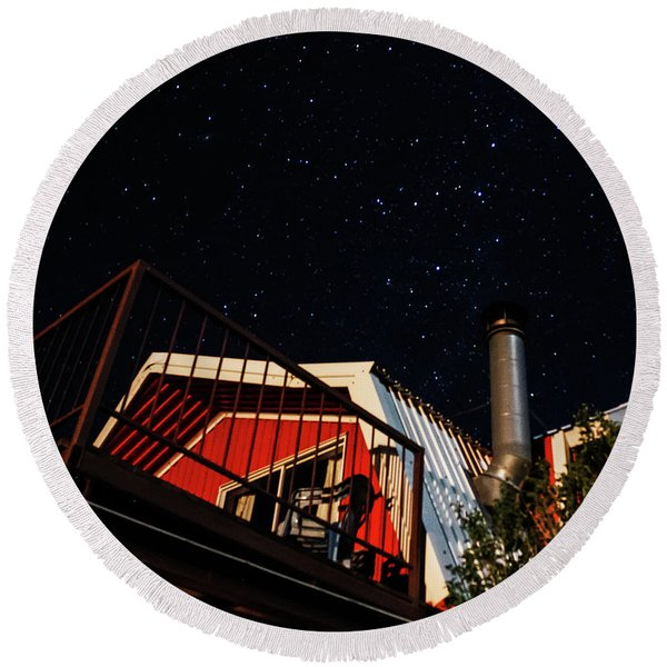 Round Beach Towel featuring the photograph Stars Over Gila Cottage by Lon Dittrick