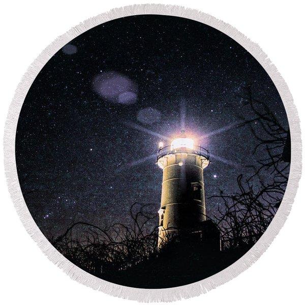 Stars Over Nobska Lighthouse Round Beach Towel