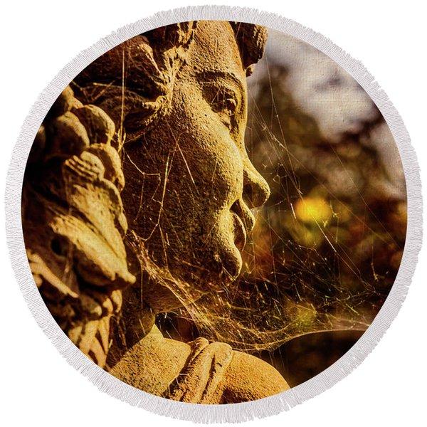 Statue In Cobwebs Round Beach Towel