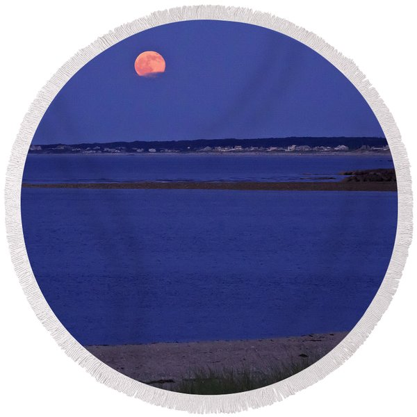 Stawberry Moon Round Beach Towel
