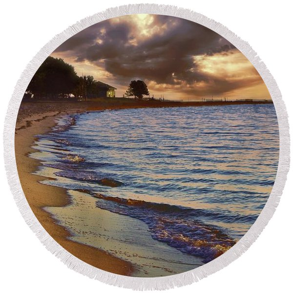Steps In The Sand Round Beach Towel