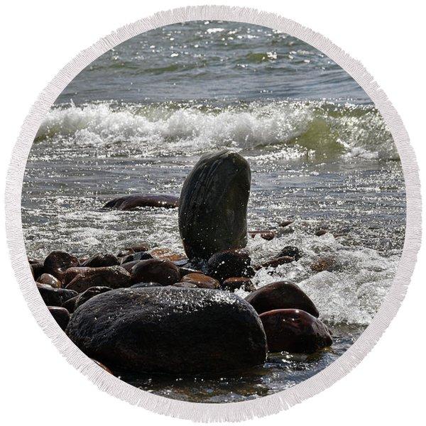 Stones Round Beach Towel