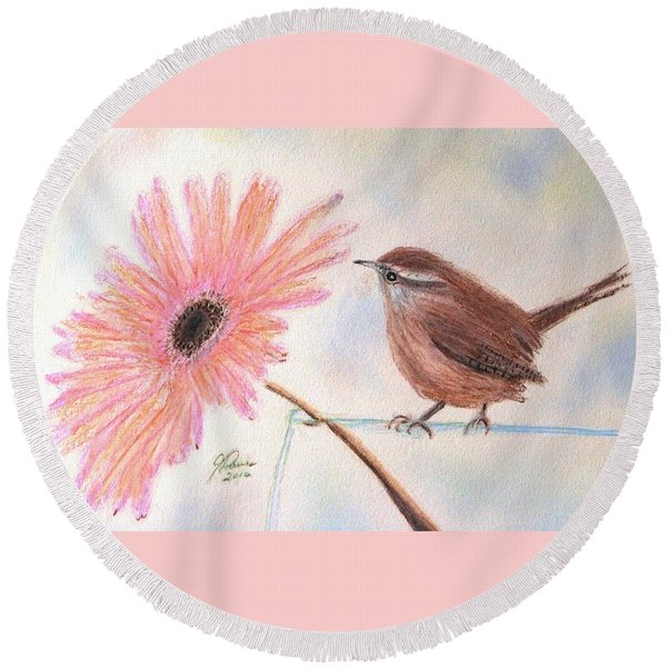 Stopping By To Say Hello Round Beach Towel