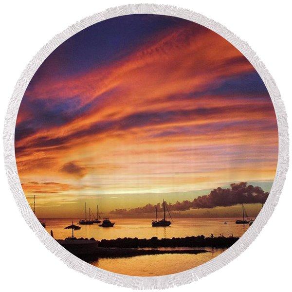 Store Bay, Tobago At Sunset #view Round Beach Towel